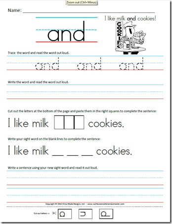 6 Images of Free Writing Worksheets Printable Kindergarten Site Words