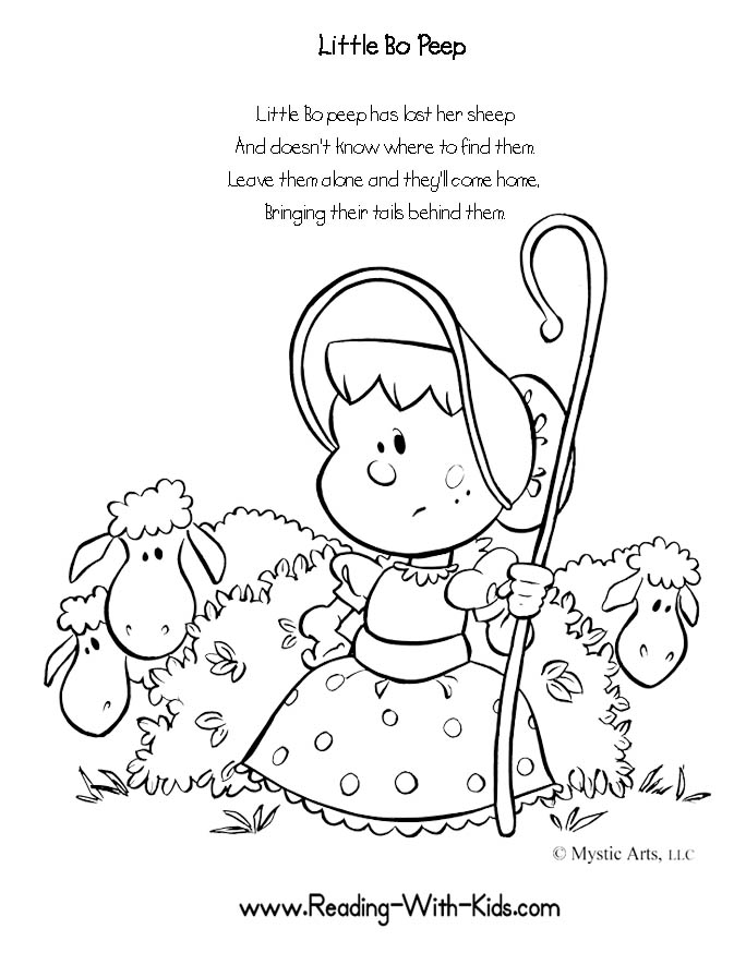 Little Bo Peep Nursery Rhyme Coloring Pages