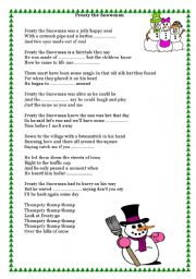 6 Images of Words To Frosty The Snowman Printable
