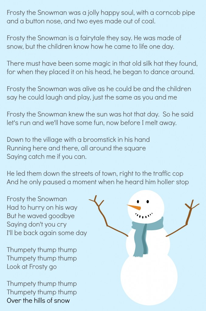 6 best images of words to frosty the snowman printable for I want to make a snowman