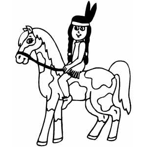 Indian Horses Coloring Page - Download & Print Online Coloring ... | 300x300