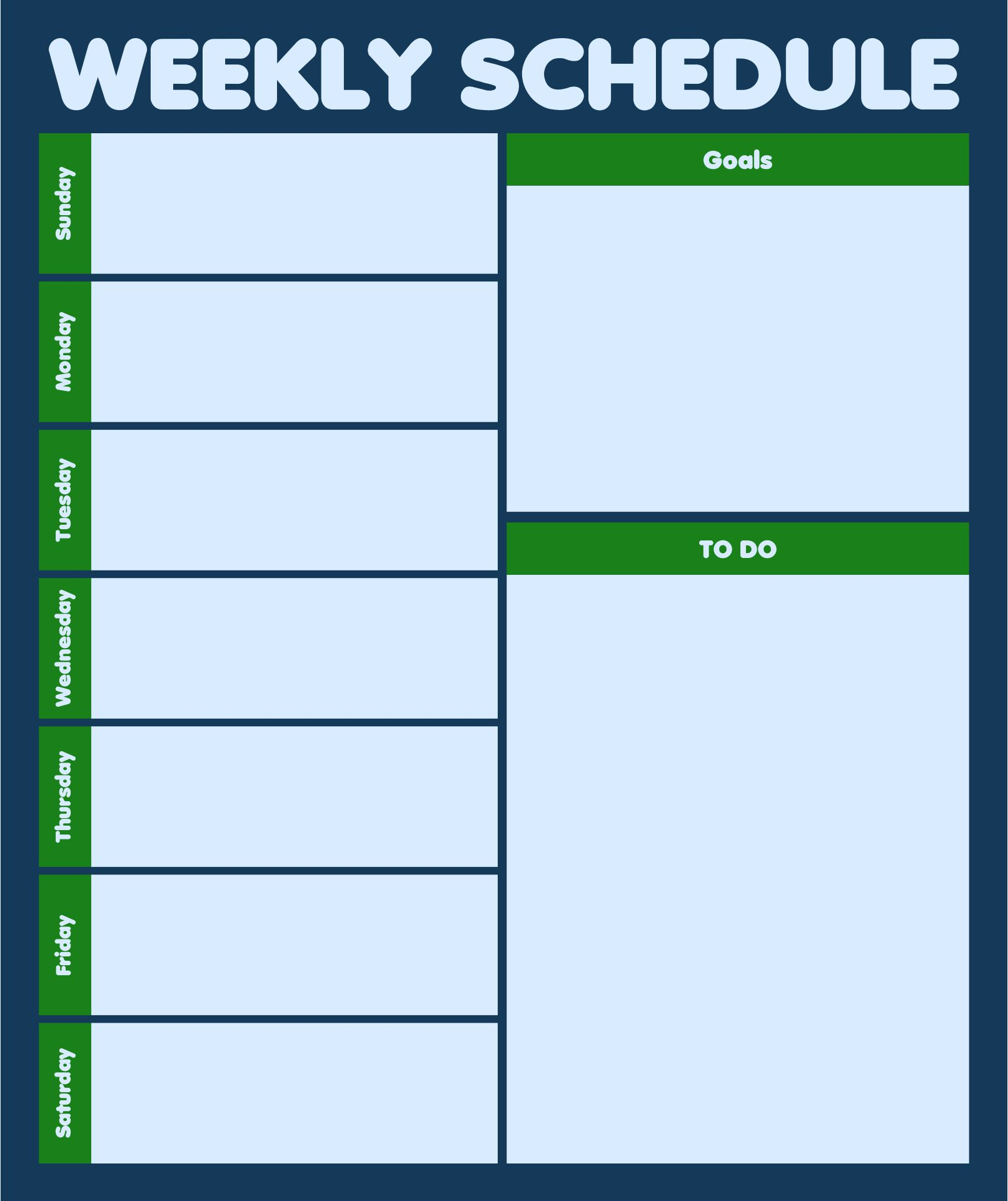 One Week Blank Calendar Printable