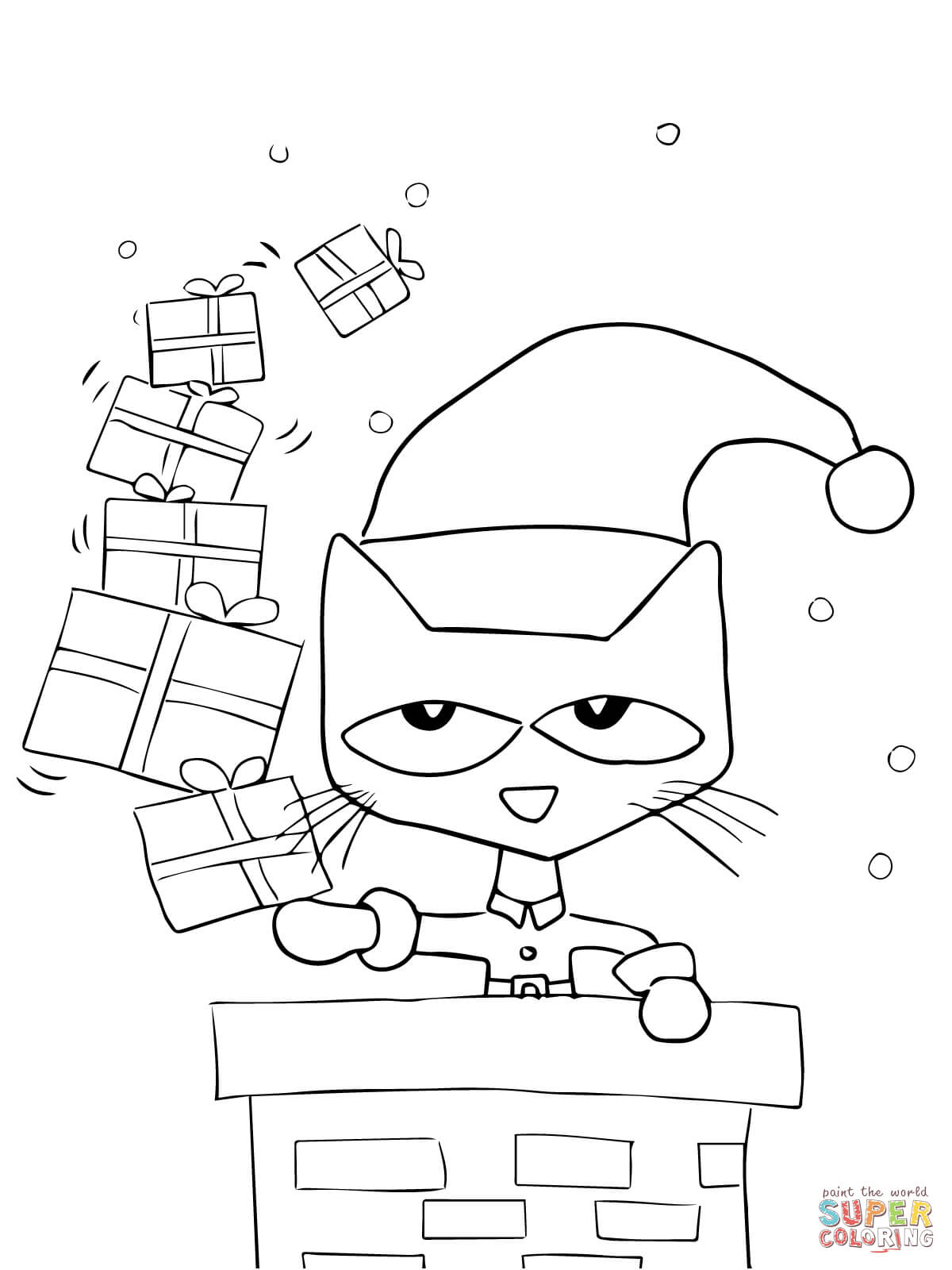 Cat Christmas Coloring Page, Cat and Kitten Coloring Pages Printable ...