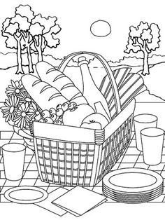 picnic scene coloring page 9 best images of picnic basket coloring sheet printable