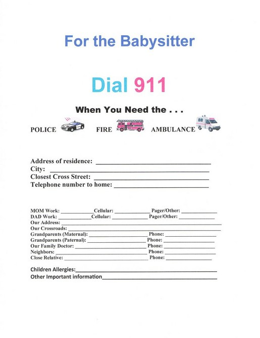 babysitting emergency contact form