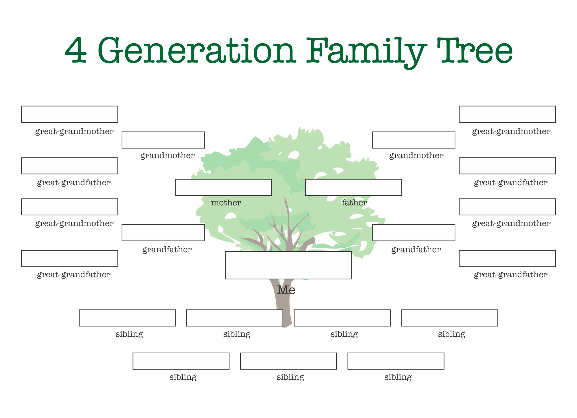 Printable Family Tree Template with Siblings