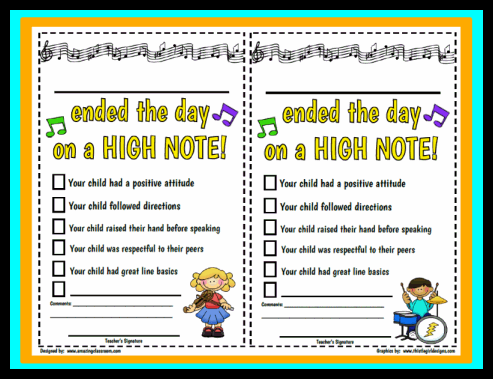 Printable Positive Notes Home From Teacher