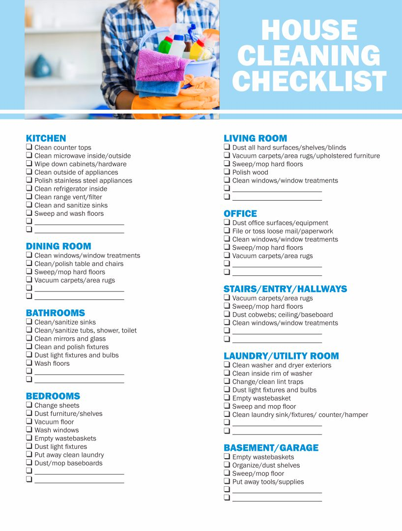 Professional House Cleaning Checklist Printable