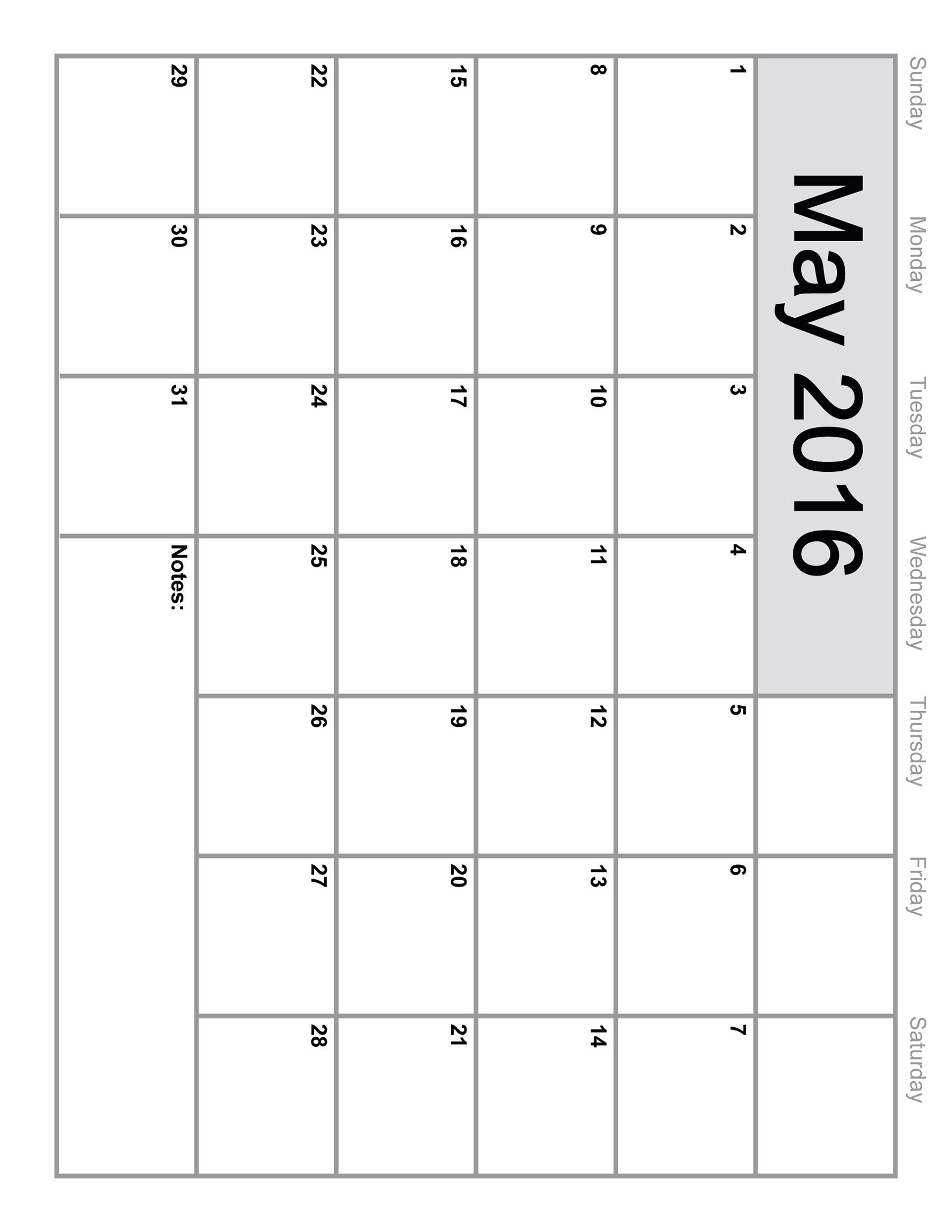 7 Images of Printable 2016 Monthly Calendar Template