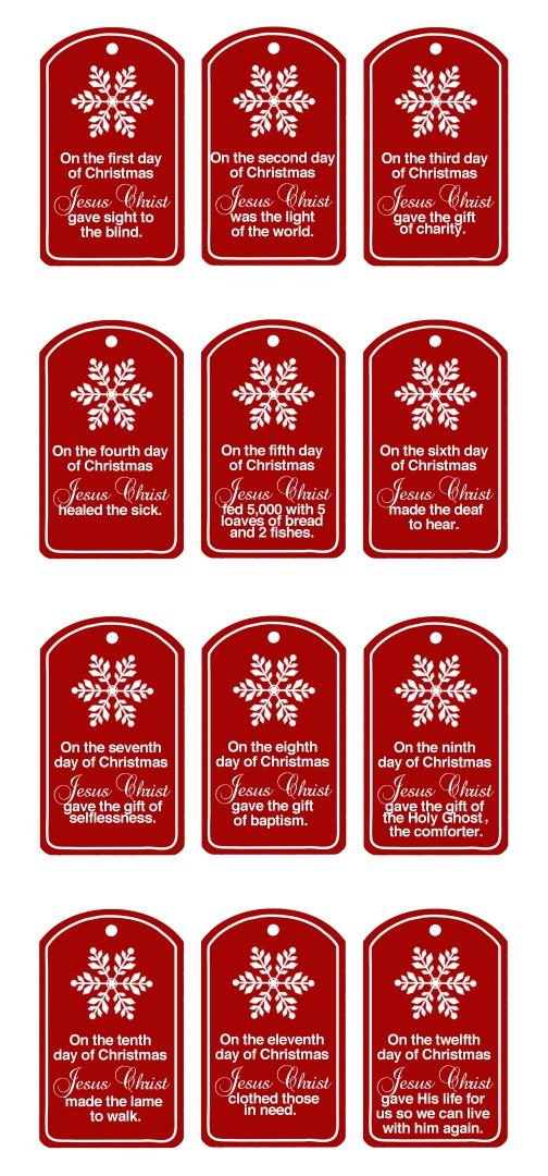 7 Images of 12 Days Of Christmas Tags Free Printable