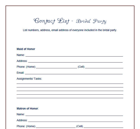 6 Images of Wedding Party Checklist Printable