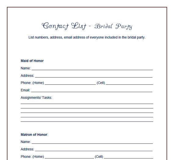 Printable Wedding Checklist Samples