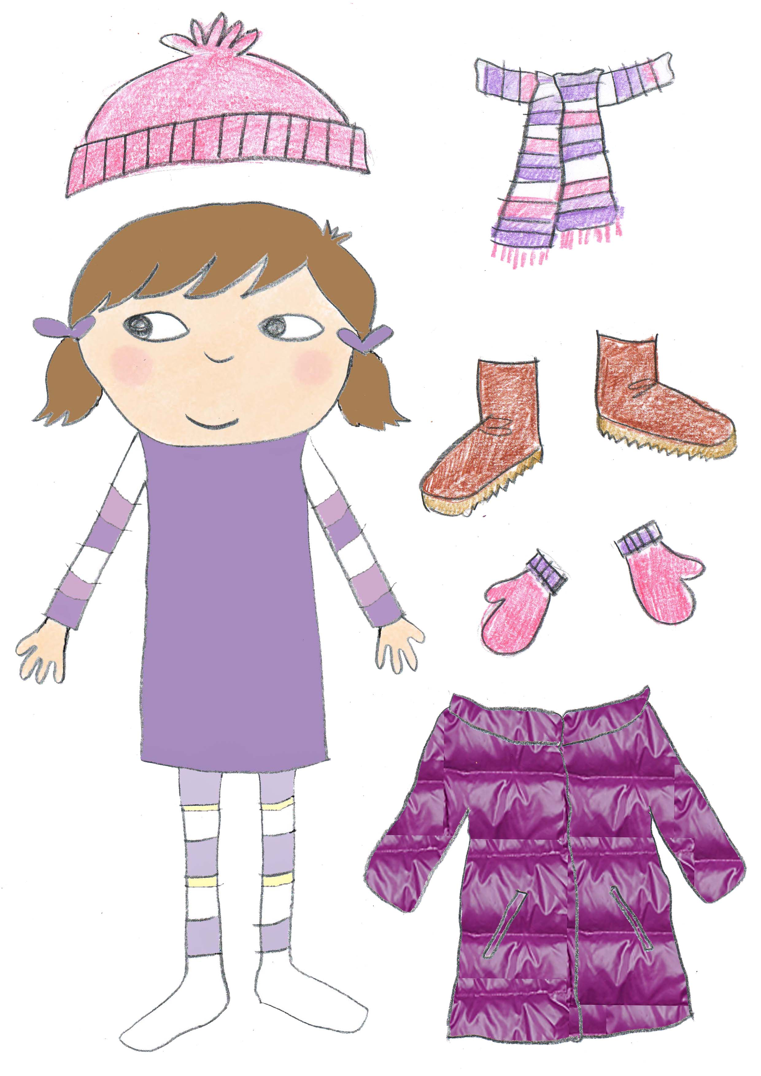 7 Images of Winter Clothes Paper Doll Printable