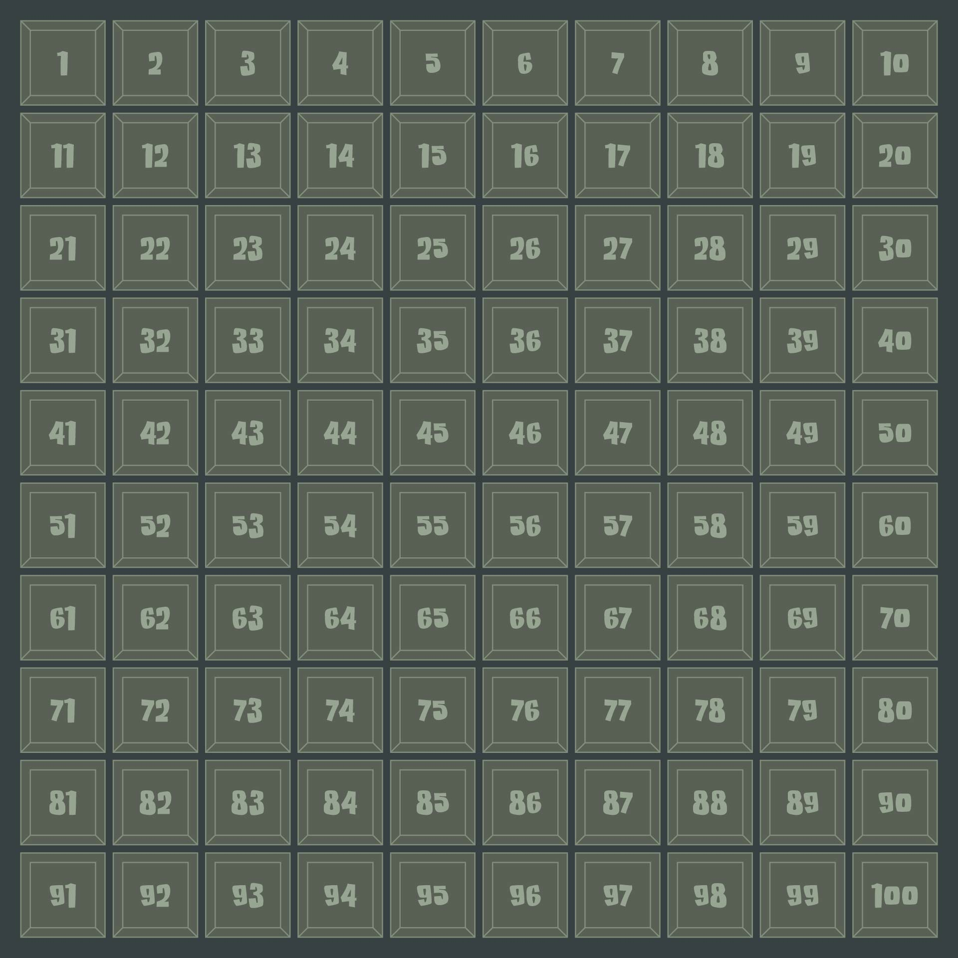 10 X 10 Grid with Numbers 1 100
