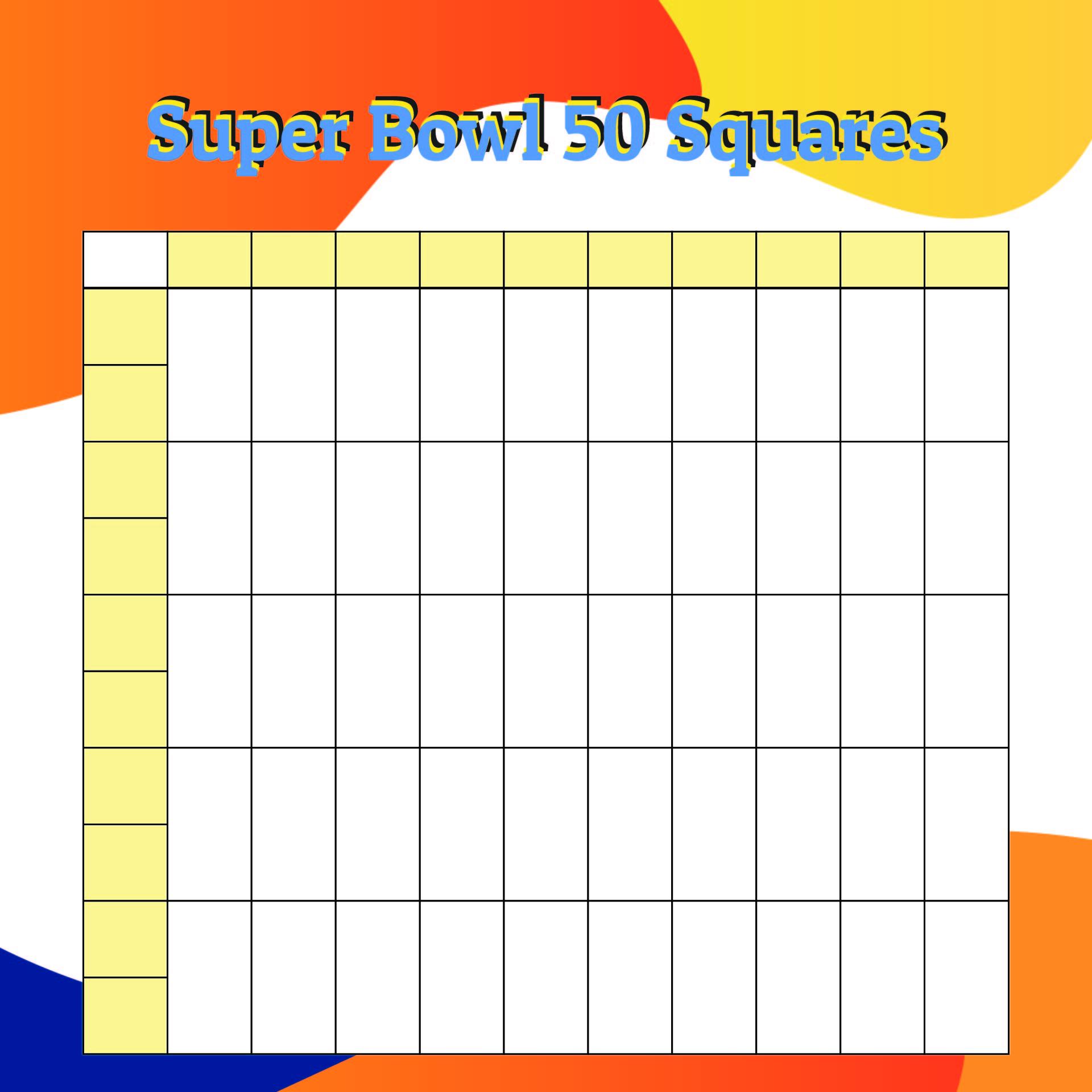 50 Square Super Bowl Pool Template