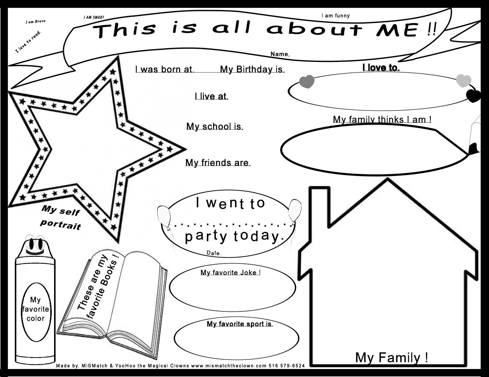 6 best images of printable poster all about me for About me template for students
