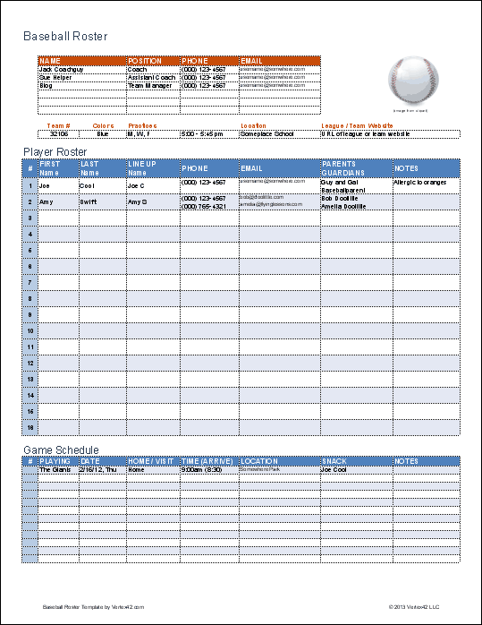 Baseball Roster Template Excel