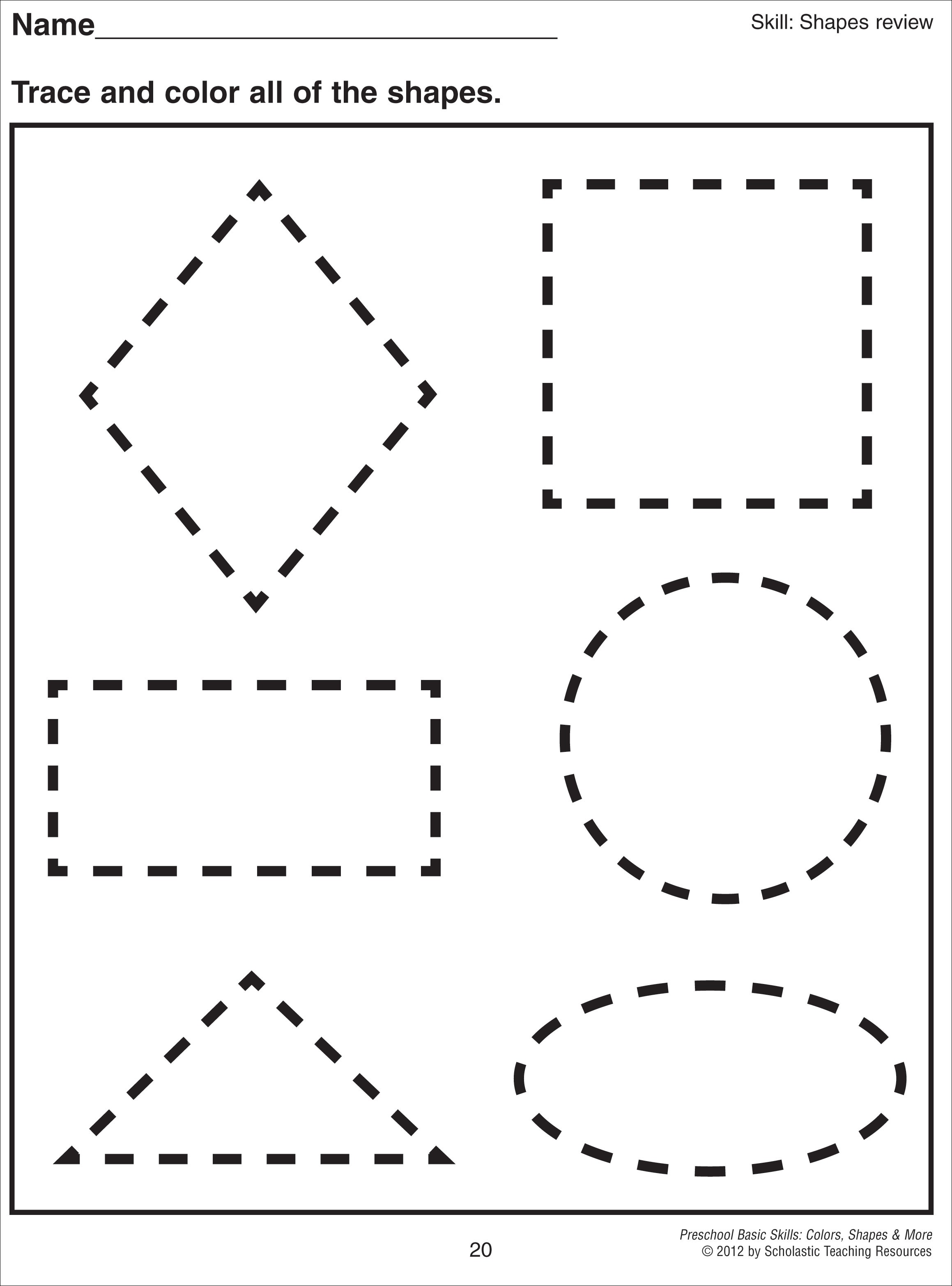 Free shape worksheets for pre k