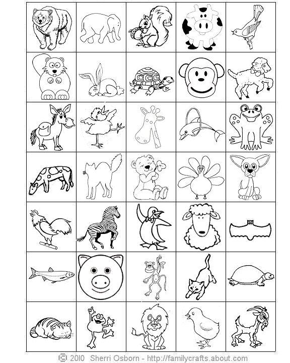 6 Images of Printable Animal Bingo Game