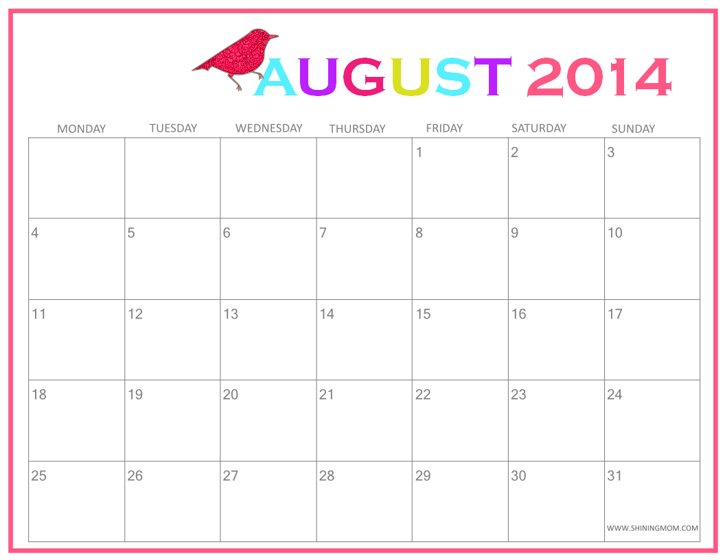 6 Images of Cute Printable August Calendar