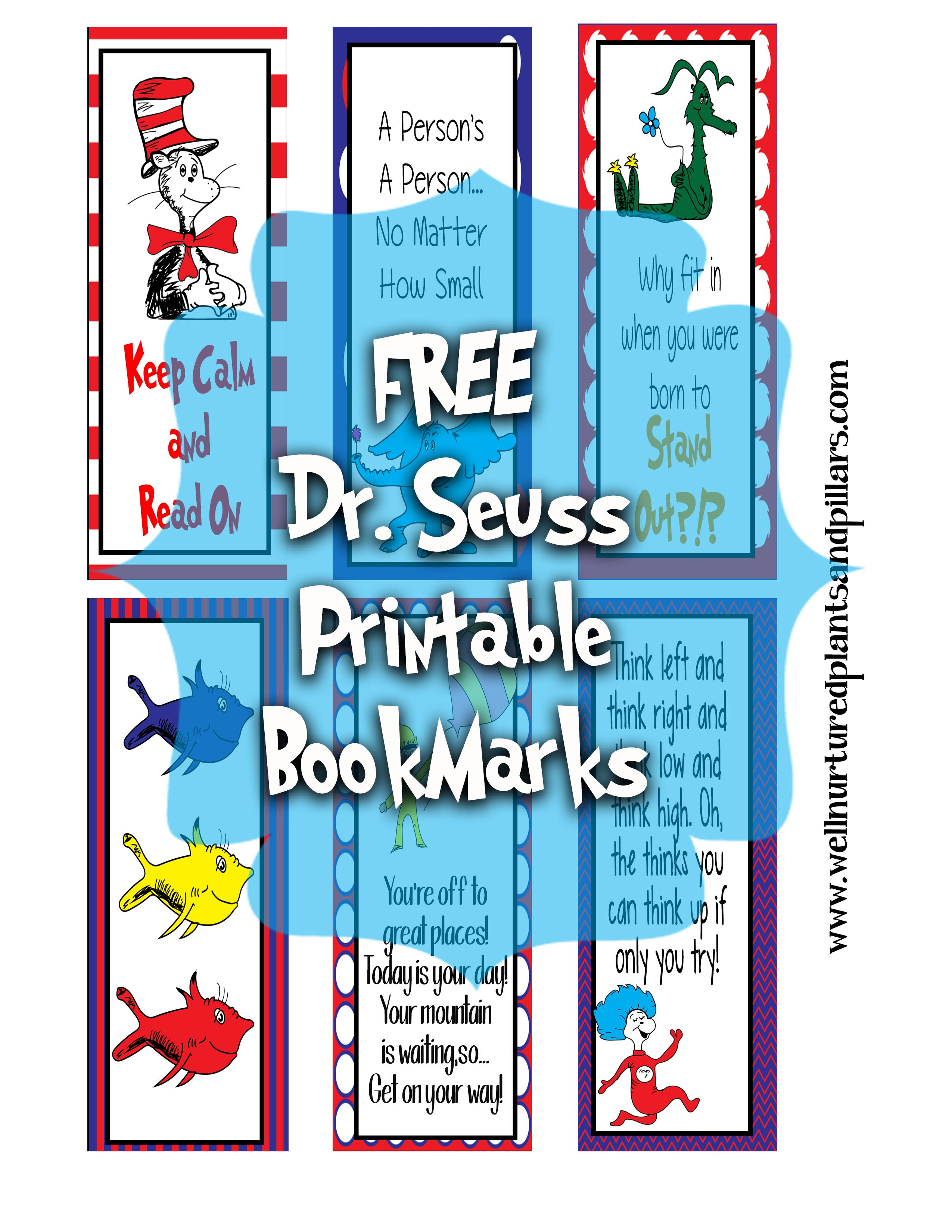 7 Images of Free Printable Dr. Seuss Bookmarks