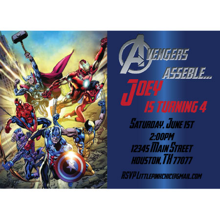 4 Images of Avengers Party Invitations Free Printable