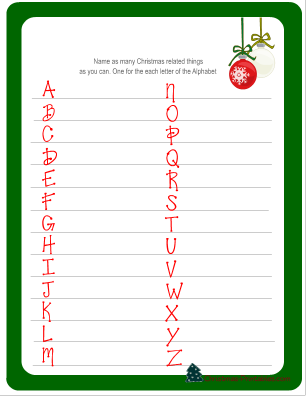 7 Images of Free Christmas Alphabet Games Printables