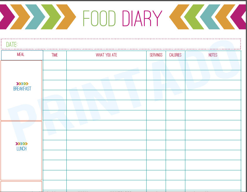 Printable Diet Journal - Free Printable Food Journal Diary, Printable ...