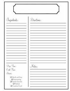 7 best images of printable blank recipe templates free for Template for recipes in word