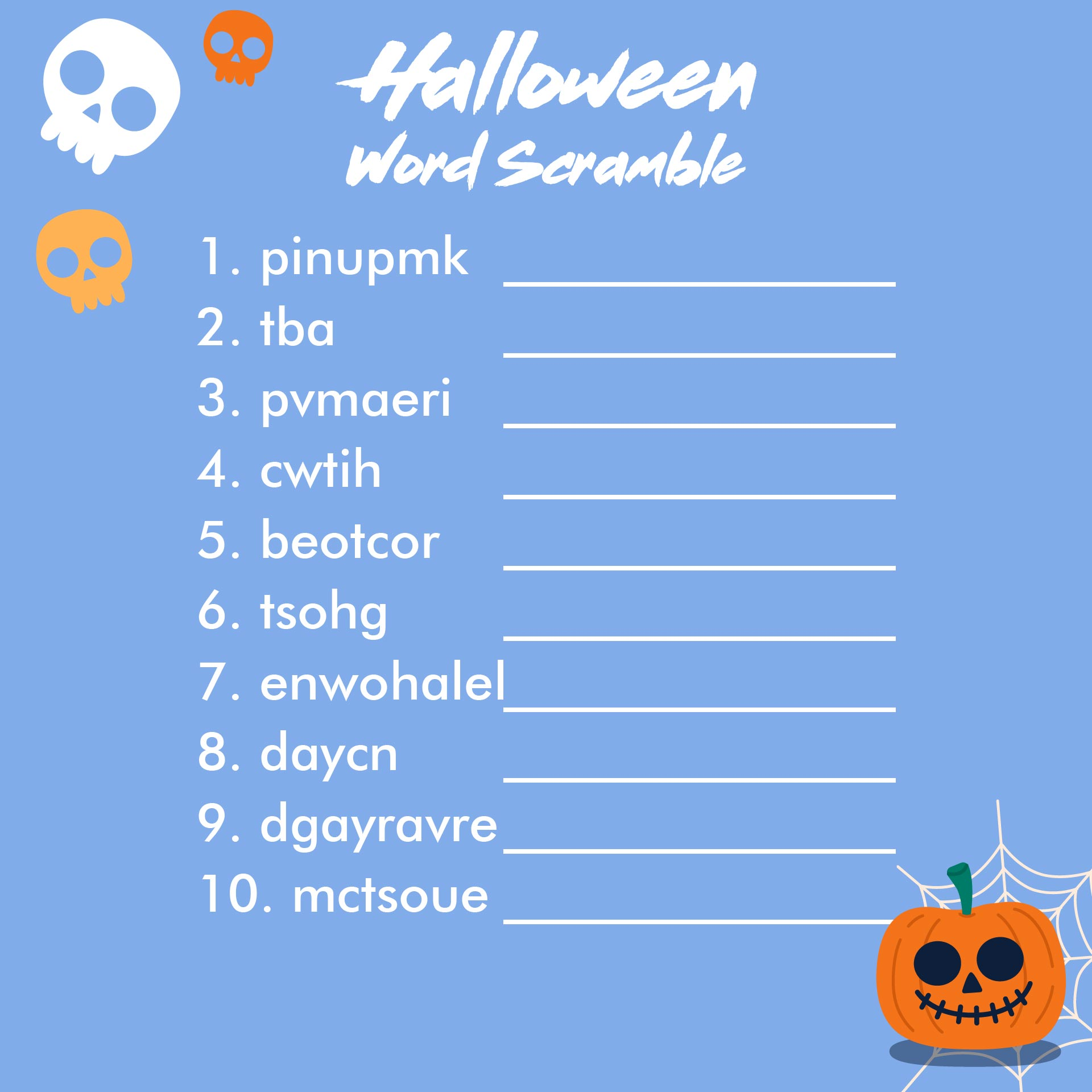 8 Images of Halloween Word Scramble Printable