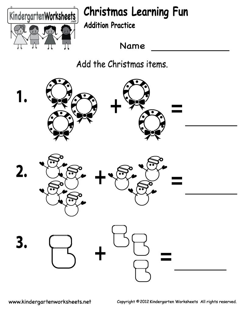 Printable Kindergarten Addition Worksheets
