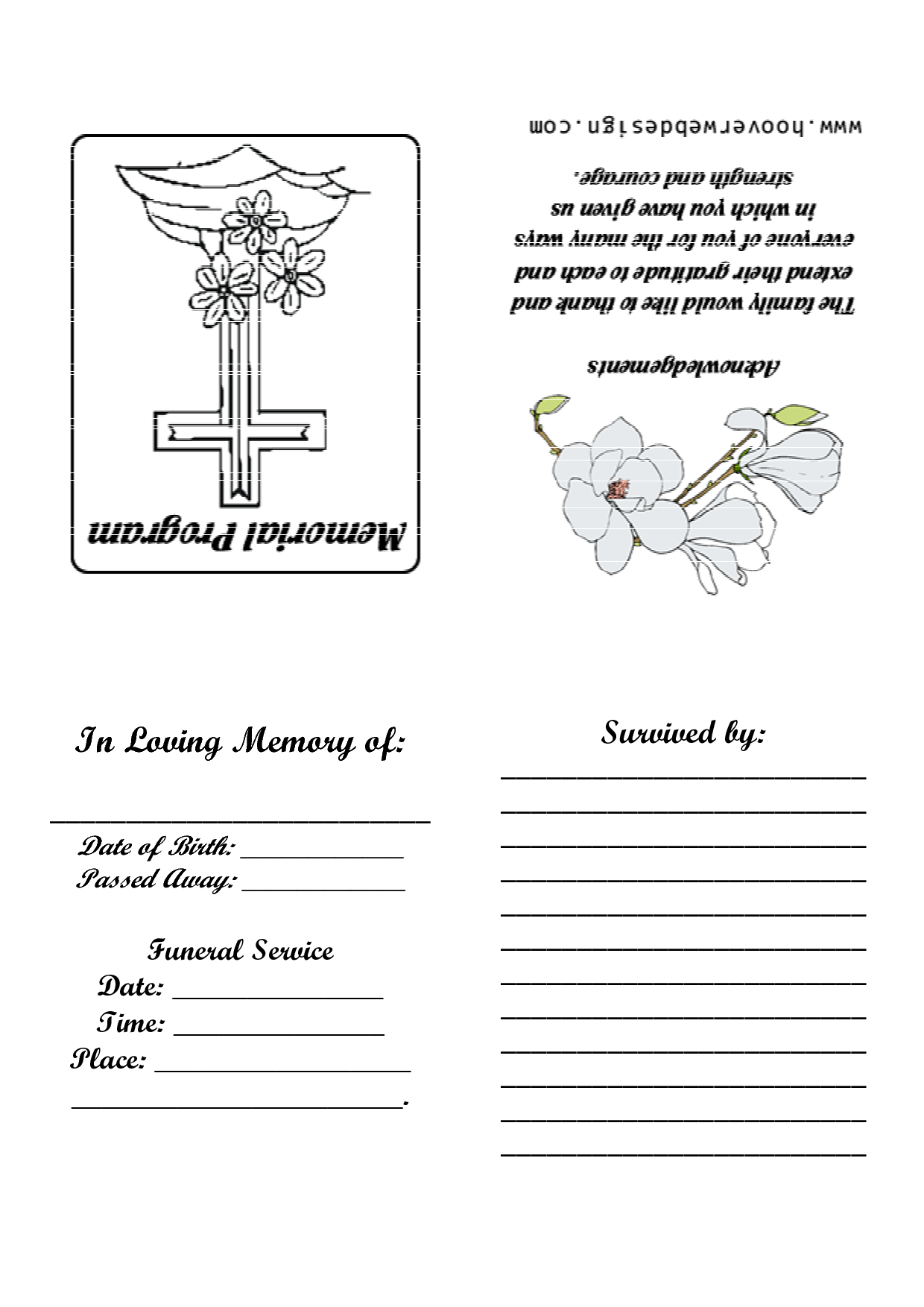 8 best images of printable memorial service templates for Free program templates