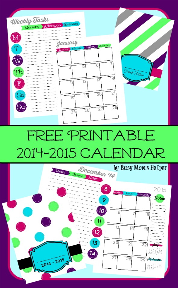 5 Images of Busy Mom Calendar Printable