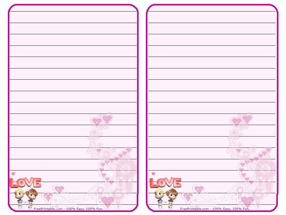 Free Printable Stationary with Lines Hearts