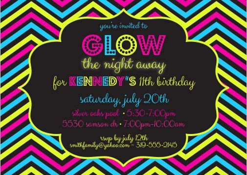 8 Images of Glow Party Invites Free Printables