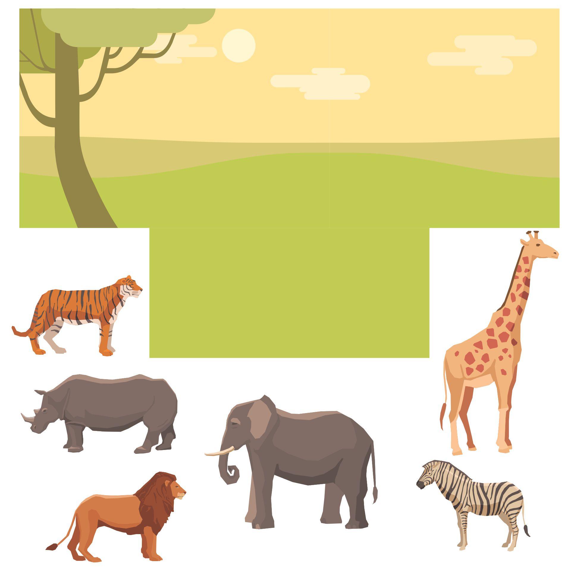 Grassland Animal Habitat Diorama