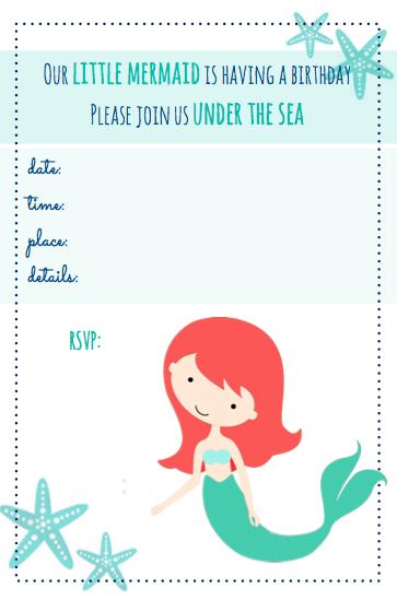 9 Images of Free Mermaid Printable Invitation Template
