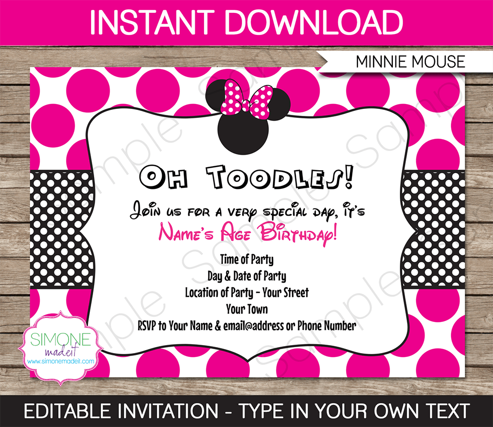 Free Minnie Mouse Invitations is best invitations example