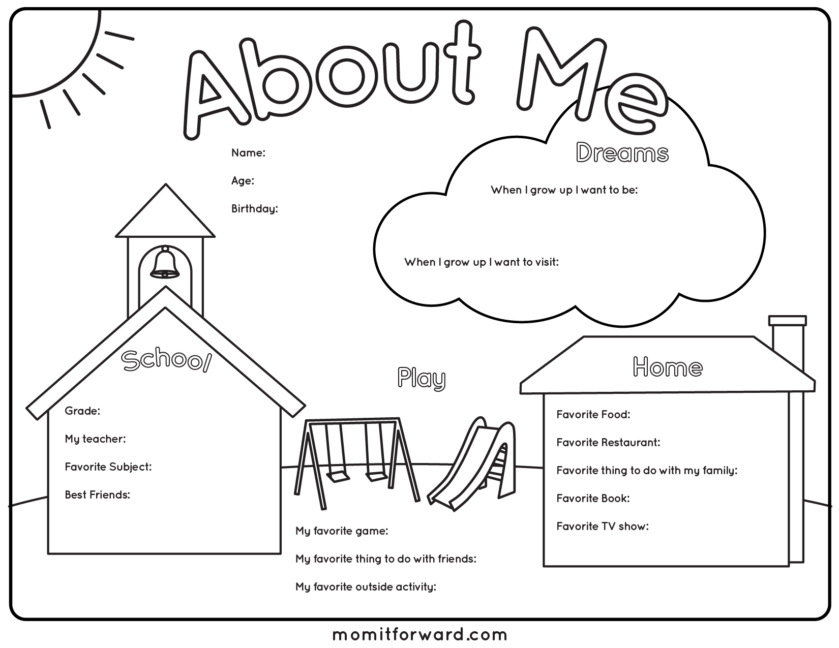 all about me poster printable pdf
