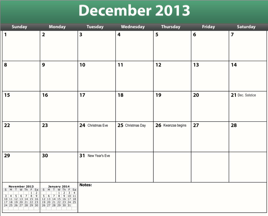 5 Images of Free Printable Calendar December 2013