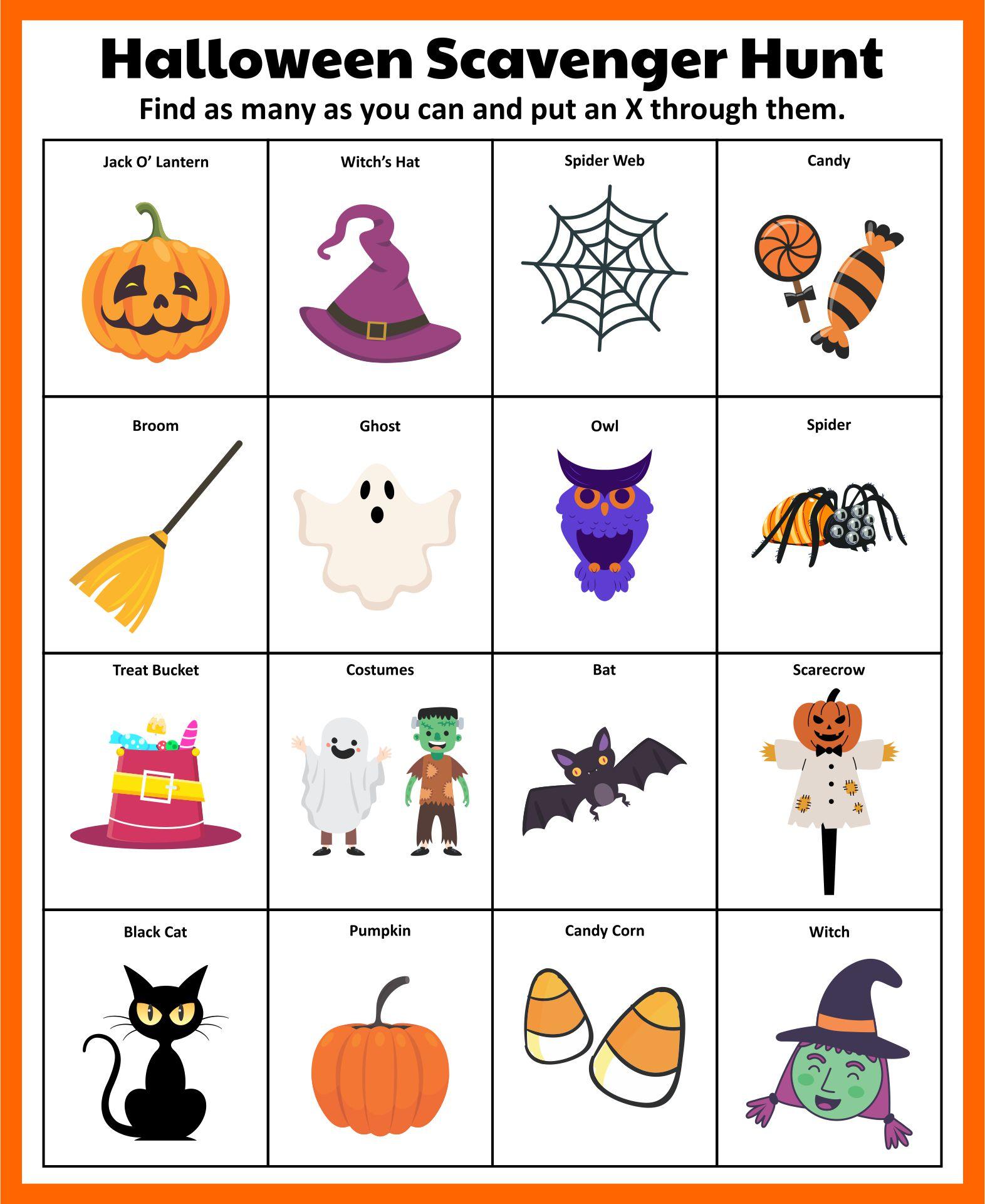 Printable Halloween Scavenger Hunt Games