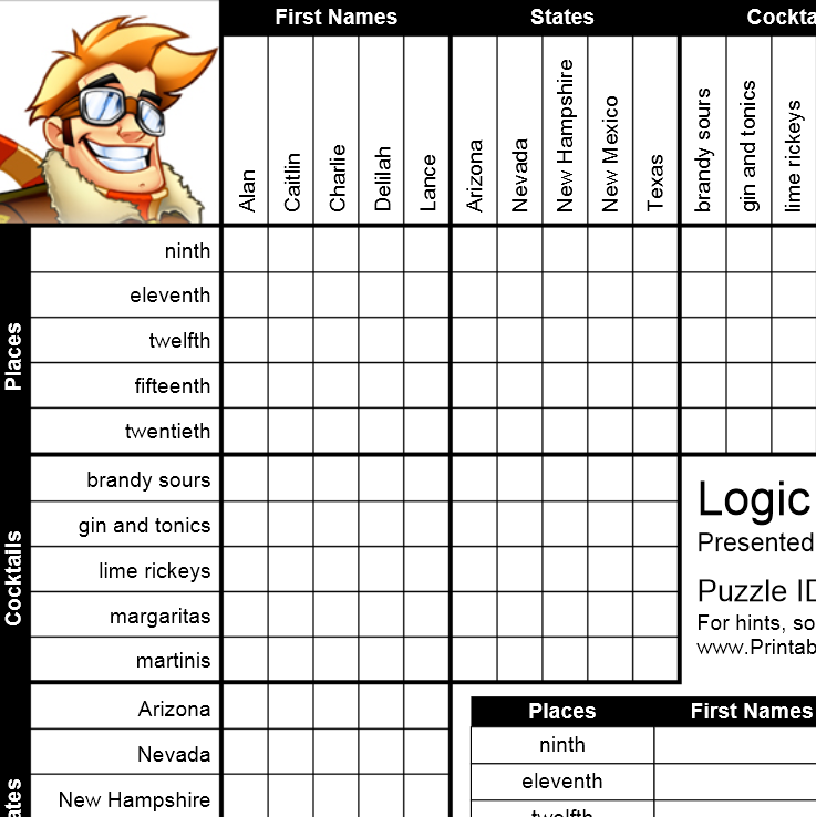 6 Images of Printable Logic Grid Puzzles