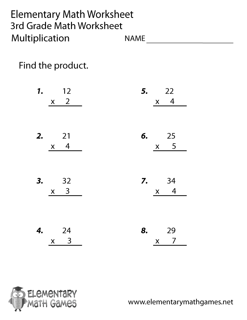 math worksheet : math multiplication worksheets 3rd grade printable  educational  : Multiplication Worksheet For 3rd Grade
