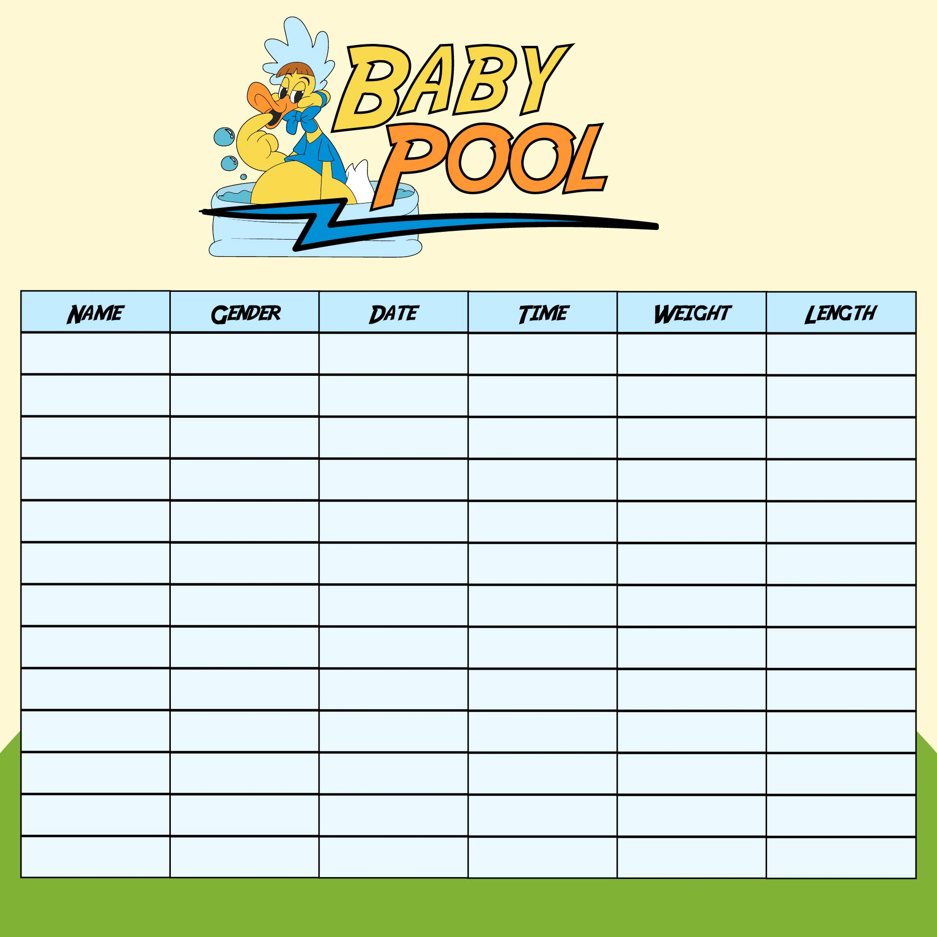 Printable Office Baby Pool Template