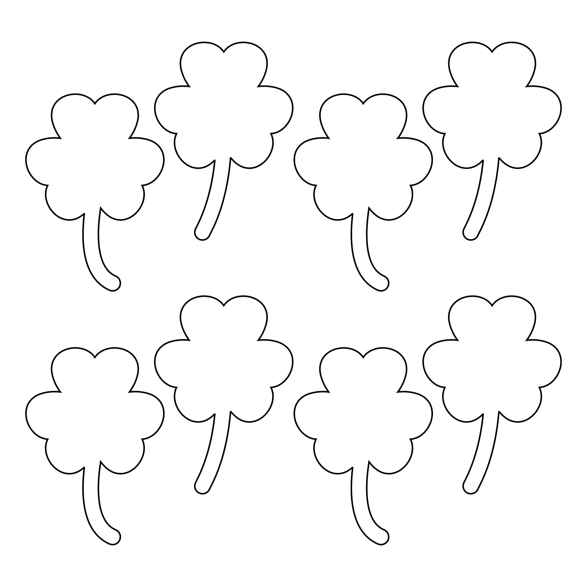 5 Images of Printable Shamrock Template Cutouts