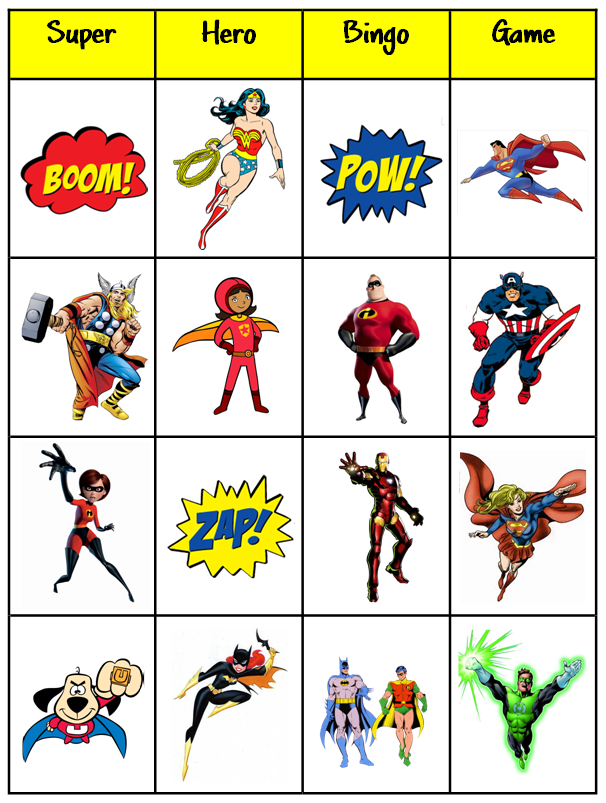 6 Images of Free Printable Superhero Bingo Cards