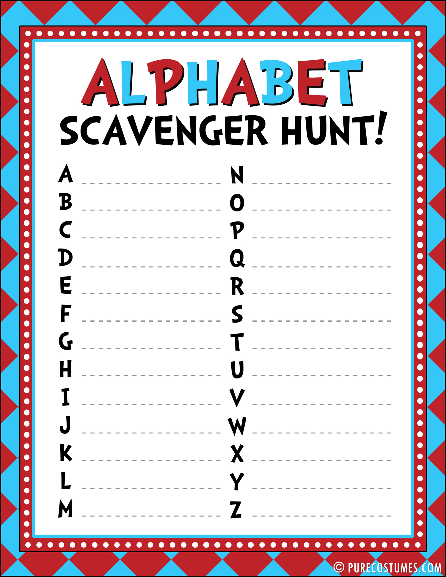 6 Images of Alphabet Scavenger Hunt Printable