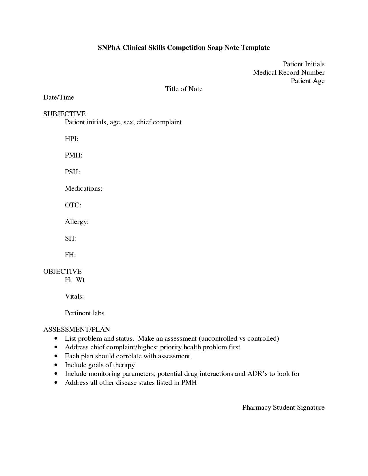 8 best images of soap note template pdf printable blank for Clinical notes template