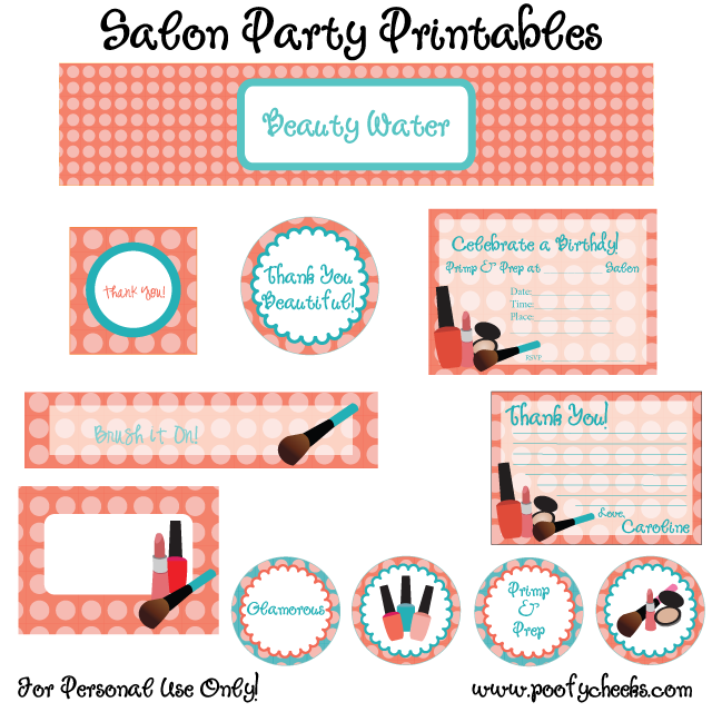 8 Images of Spa Birthday Printables