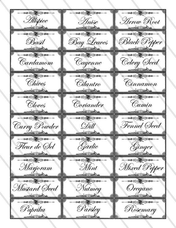 4 Images of Spice And Herb Labels Printable Free